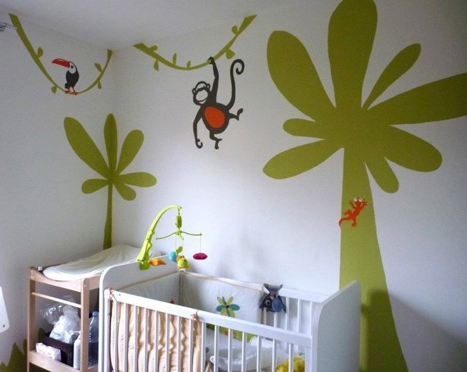Dcoration Chambre Bb Jungle Cool Chambre Fille Vert Pistache U Saint Etienne With Dcoration